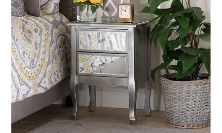 Leonie Brushed Silver Wood and Mirrored Glass 2-Drawer Nightstand