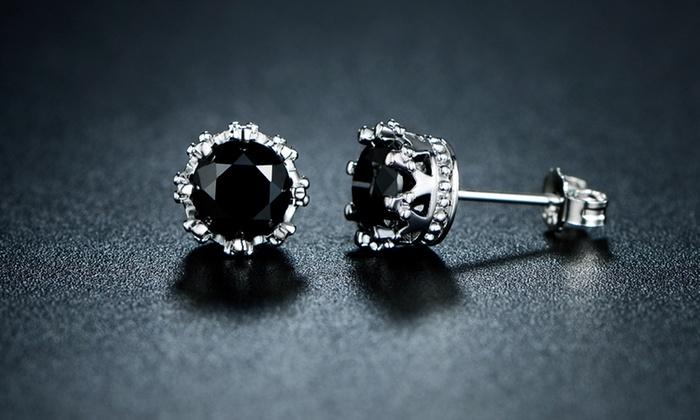 Genuine Black Onyx Crown Stud Earrings By Gemby