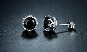 Genuine Black Onyx Crown Stud Earrings By GEMBASSY