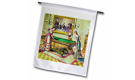 Garden Flag Early 1880s Billiard Ladies Drawing Print PD-US - 12 by 18-inches