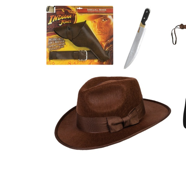620a994a7 Indiana Jones Child Costume Accessory Set Hat Whip Gun Holster Bag Hat