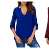 Womens's Tops Deep V Neck Roll Up Sleeve See Through Irregular  Blous