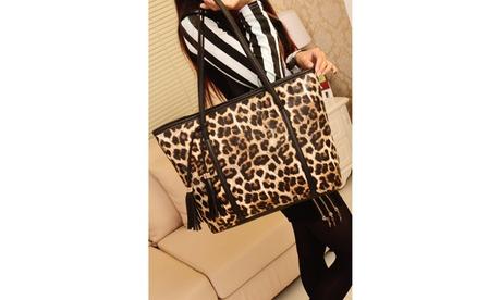 Leotta Tasseled Tote Leopard Style Bag