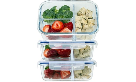Glass Meal Prep Containers, 3 Compartment, Set of 3