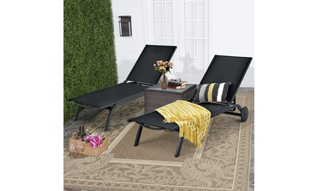 Costway 2PCS Patio Lounge Chair Chaise Recliner Aluminum Fabric Adjustable