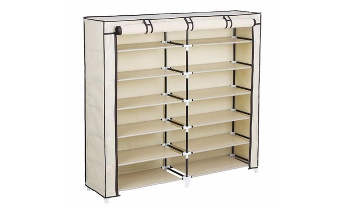 6 Tiers 12 Lattices Shoe Rack Shelf Storage Closet Organizer Cabinet Beige