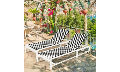 Costway 2PCS Patio Lounge Chair Chaise Adjustable Reclining Chair Garden Wheel
