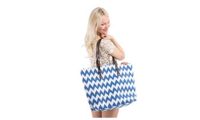 X-Large Chevron Print Canvas Beach Bag Tote – Blue Chevron