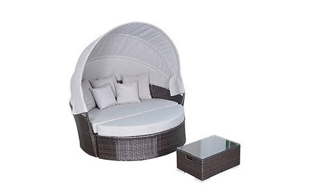 Yoto Rattan Victoria Outdoor Wicker Rattan Patio Daybed with Canopy c0392bfb-a6ba-4d2d-8b56-382e17277649