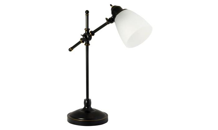 Light Accents Antique Style Desk Lamp With White Glass Shade Groupon