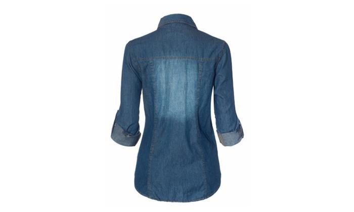 Womens Button Down Roll Up Sleeve Classic Denim Shirt Tops