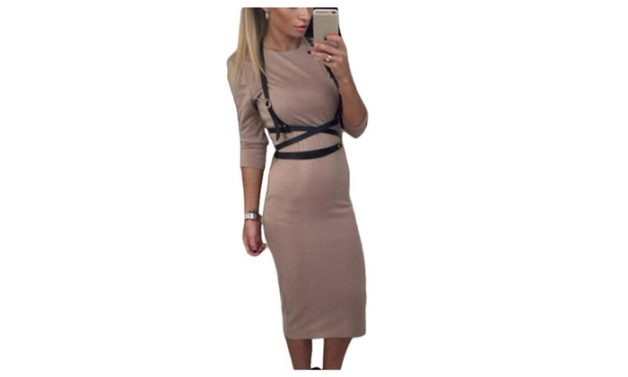 Women's Casual Solid Mid Sleeve Round Neck Sheath Dresses