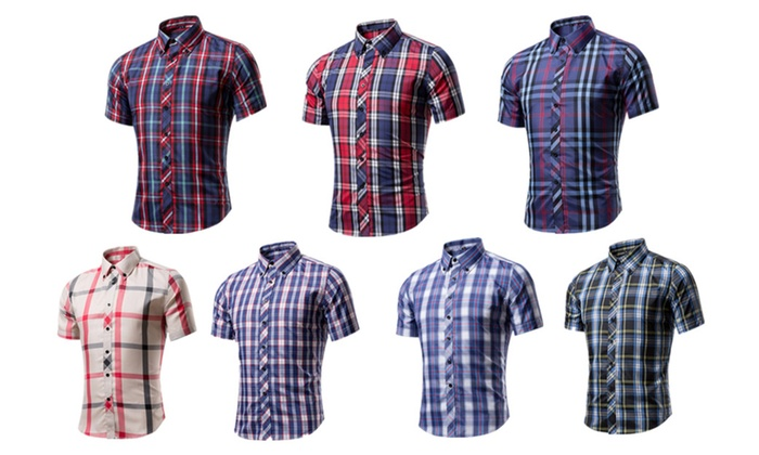 Men's Casual Business Fashion Plaid Long Sleeves Shirt