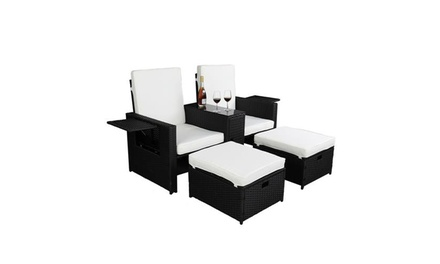 5 Piece Lounge Chair Patio Furniture Sofa and Coffee Side Table