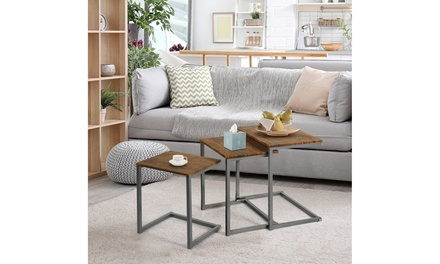 3 Pcs Nesting Coffee End Table Set Stacking Side Nightstand Living Room Office