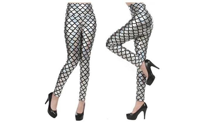 LifeVV Women Sexy Mermaid Fish Scale Stretch Soft Shine Leggings - Silver / One Size