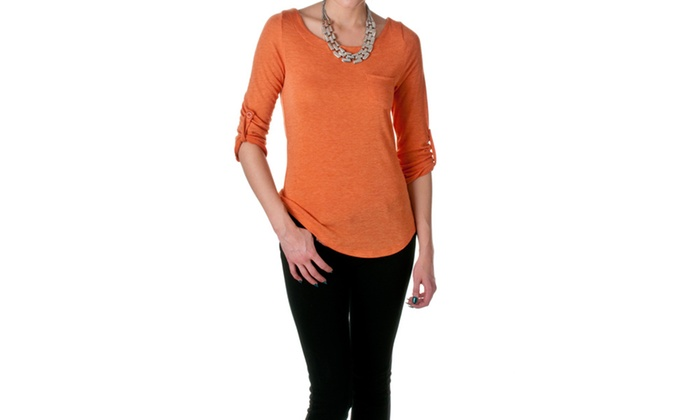 DNA Couture Womens Draped Scoop Neck Jersey Top, 2731T