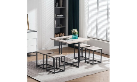 Dining Table Set, Square Table Set with 4 Chairs, Metal Frame Black