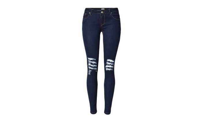 Women's Casual Ripped Mid Rise Cutwork Jeans