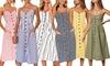 Women's Midi Dress Bohemian Spaghetti Strap Button Down Swing with Pockets