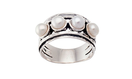 Sterling Silver Freshwater Pearl Oxidized Ribbed Ring 1c58a2b9-807e-4770-a440-fefc9273e2d2