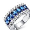 18kt White Gold Plated Blue Spinel Princess Cut Ring
