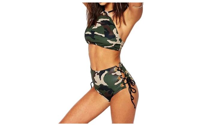 Women's Camouflage Print High Neck High Waist Bikini Set
