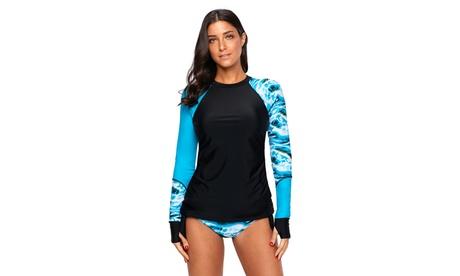 Women's Contrast Dark Blue Detail Long Sleeve Tankini Swimsuit