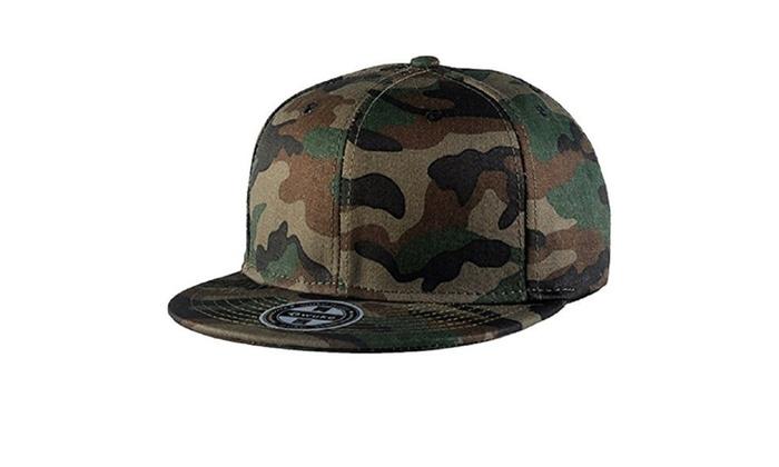 Two-Tone Flat Bill Snapback Hat Camouflage Cap