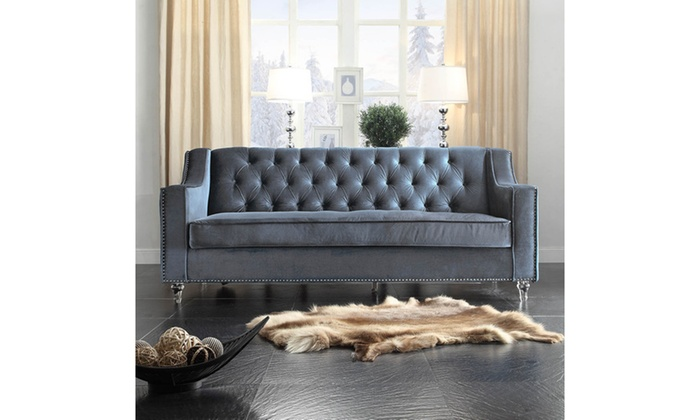 Presley Velvet Button Tufted Sofa With Nailhead Trim And Acrylic Feet ...
