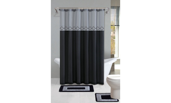 Designer Bath Shower Curtain And Rug Set 15 Piece