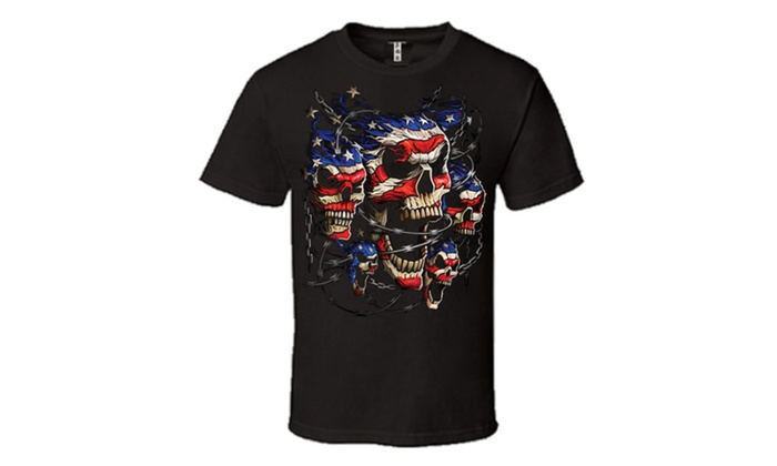 Patriotic Skulls in Chain T-shirt 4th of July Independence Tee