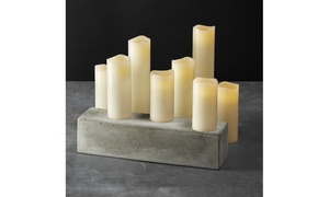Leila Melted-Edge Flameless Pillar Candles (Set of 8)