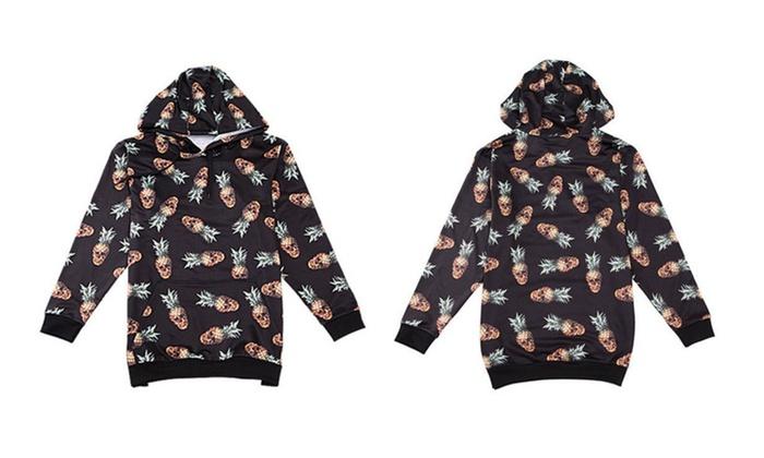 Pineapple Print Hooded Sweatshirt