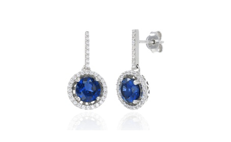 Sparkling Round Halo Blue Sapphire Earrings 081a06fe-5112-4cdf-ba1e-cc0280cc4878