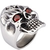 Men's Stainless Steel Cubic Zirconia Outlaw Skull Ring