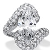 6.56 TCW CZ Ring Platinum over Sterling Silver