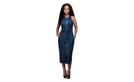 Women Elegant Sleeveless Denim Dress 6637fb9e-79c4-4b7a-afbb-738f43b737dd