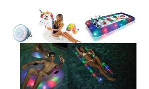 Pool Inflatables LED Light Glitter Jumbo Rafts Tubes Cooler Beer Unicorn Speaker