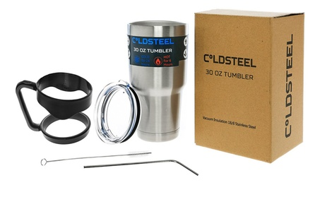 ColdSteel 30oz Insulated Travel Tumbler With Handle Straw and Cleaner 55093244-1d0c-484c-8a4a-1e27b9b23208
