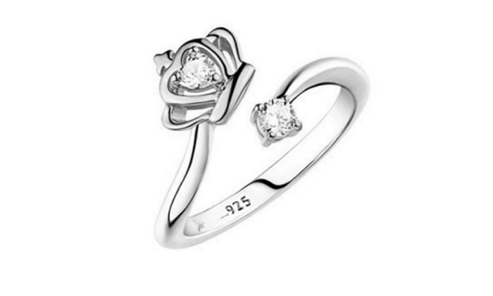 Queen Crown Shape Engagement Ring For Women Resizable