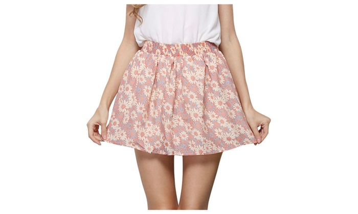 Women Chiffon Floral Print Mini Skirt