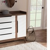 Brighton White and Walnut Wood Storage Shoe Cabinet