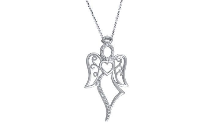 Up to 52 off on 18k white gold plated diamond groupon goods groupon goods 18k white gold plated diamond accent angel pendant by brilliant diamond aloadofball Image collections