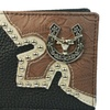 Mens Genuine Leather Western Bifold Wallet with Longhorn & Horse Shoe