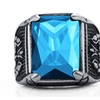 316L Stainless Steel Punk Style Crystal Ring for Men
