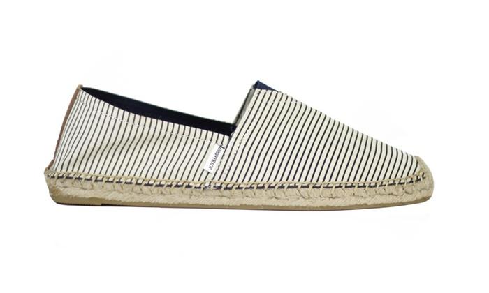 Joy & Mario Men Cool Blue Stripe Slip-on Espadrille Flat Shoes