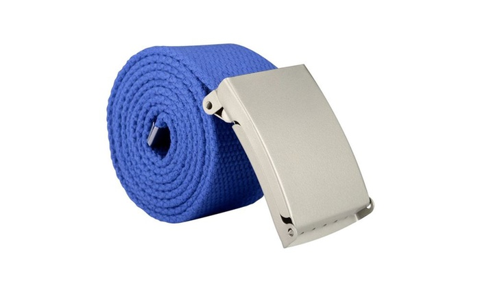 Zodaca Unisex Casual Canvas Belt w Silver Buckle Adjustable Blue