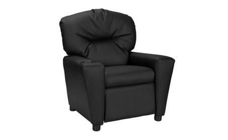 Furniture Kids' Recliner with Cup Holder, Black 255f5cad-a260-46df-b7c7-061f0f77891a