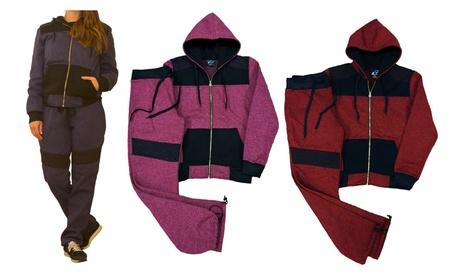 Women Athletic Sportswear Casual Biker Fleece Zip up Active Sweatsuit
